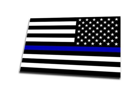 Reversed - Thin Blue Line American Flag Sticker, 4 x 6.5 Inches