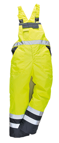 Portwest High Visibility Contrast Bib & Brace Lined - ANSI/ISEA107-2015 Class E