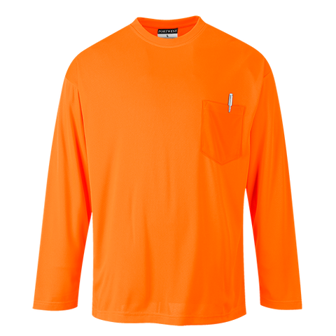 Portwest Non-ANSI High Visibility Long Sleeve Pocket T-Shirt