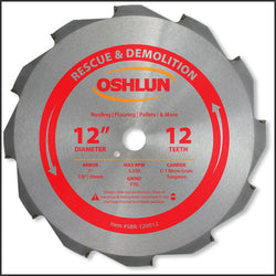 "Oshlun SBR-120012 12"" x 12T x 1"" Arbor Saw Blade (7/8"" & 20mm Bushings) - Rescue"