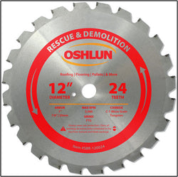 "Oshlun SBR-120024 12"" x 24T x 1"" Arbor Saw Blade (7/8"" & 20mm Bushings) - Rescue"