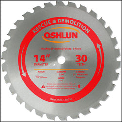 "Oshlun SBR-140030 14"" x 30T x 1"" Arbor Saw Blade (7/8"" & 20mm Bushings) - Rescue"