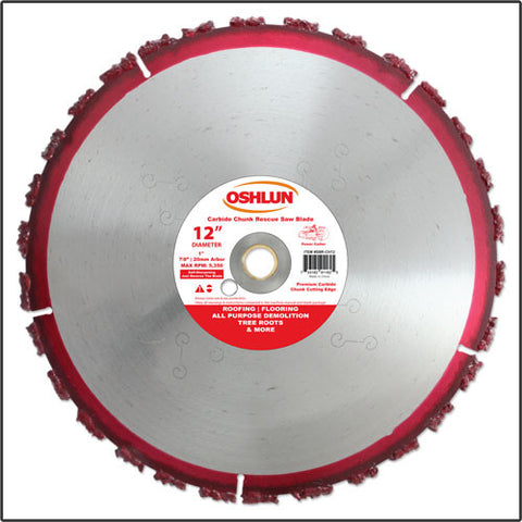 "Oshlun SBR-CH12 12"" x 1"" Arbor Carbide Chunk Rescue Blade (7/8"" & 20mm Bushings)"