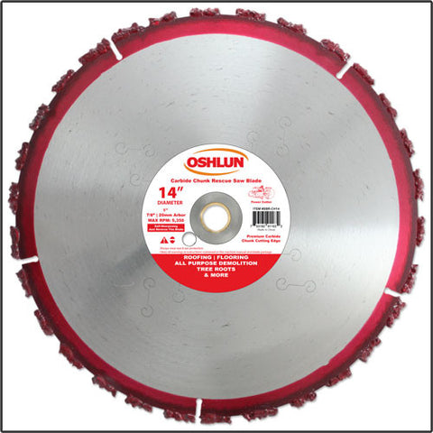 "Oshlun SBR-CH14 14"" x 1"" Arbor Carbide Chunk Rescue Blade (7/8"" & 20mm Bushings)"