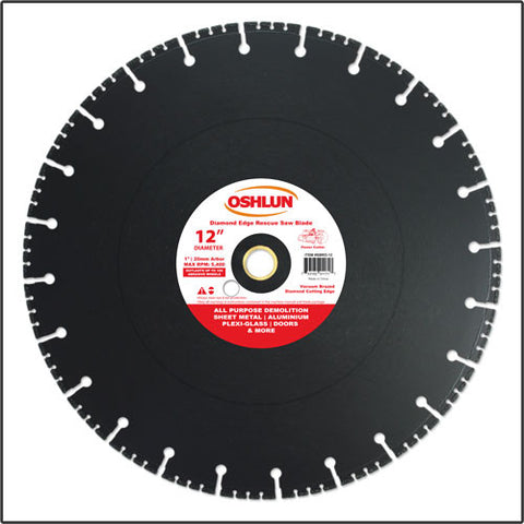 "Oshlun SBRD-12 12"" x 1"" Arbor Diamond Blade (20mm Bushing) - Rescue & Demolition"