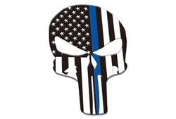 Thin Blue Line Skull Car Emblem