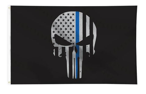 Thin Blue Line Skull Flag , 3 x 5 Foot Flag with Grommets
