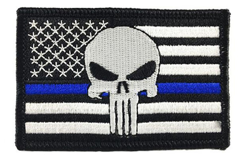 Punisher Thin Blue Line Patch - Sew On
