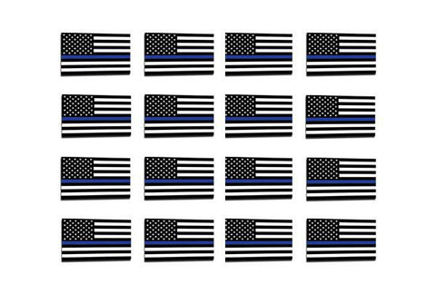 50 Pack Thin Blue Line American Flag Sticker, 1 x .75 Inches