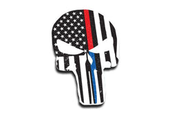 Punisher Dual Line American Flag Sticker, 4 x 6 Inches