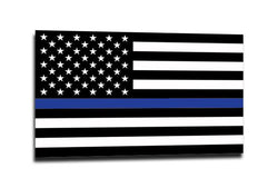 Thin Blue Line American Flag Sticker (Multiple Sizes)
