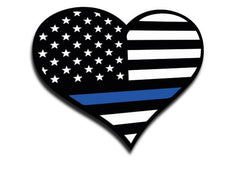 Heart Thin Blue Line Sticker, 4 x 4.5 Inches