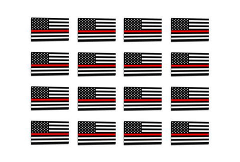 50 Pack Thin Red Line American Flag Sticker, 1 x .75 Inches