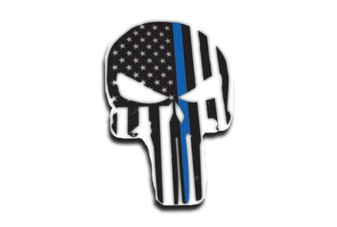 Punisher Thin Blue Line American Flag Sticker, 4 x 6 Inches
