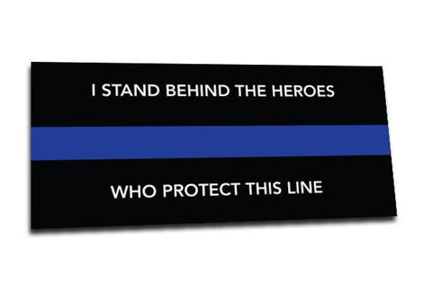 I Stand Behind Thin Blue Line Vehicle Sticker, 9 x 4 Inches