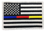 Thin Blue/Red/Gold Line American Flag Patch - Sew On