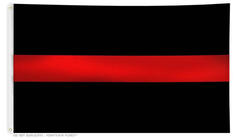 Black Flag with Thin Red Line , 3 x 5 Ft