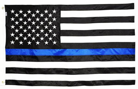 Thin Blue Line American Flag Sewn & Embroidered, DuraSleek™ Multiple Sizes