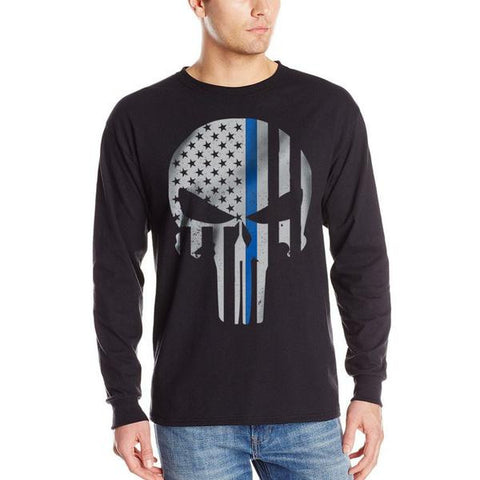 Men's Long Sleeve T-Shirt – Skull Thin Blue Line