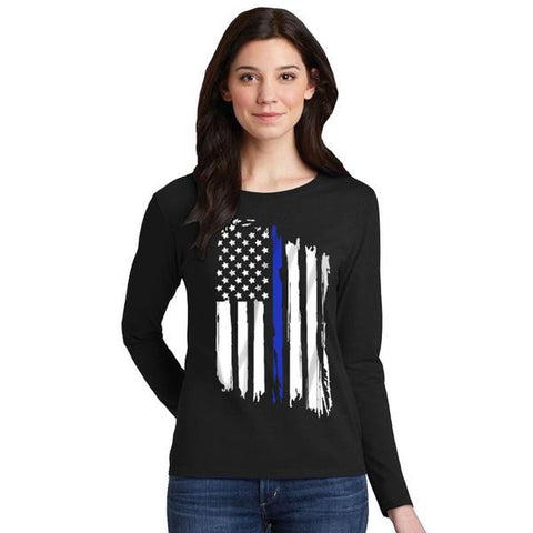 Women's Long Sleeve T-Shirt - Thin Blue Line Flag