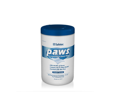 Safetec PAWS Antimicrobial Wipes, 160 Ct. Pullout Canister (Case of 12)