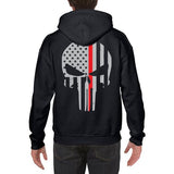 Hoodie - Thin Red Line Skull, Black