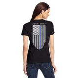 Women's T-Shirt - Thin Blue Line American Flag, Honor & Respect