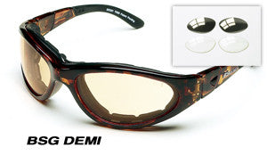 Body Specs BSG Sunglasses/Goggles (ANSI & MIL-STD), Demi Frame/Copper Mirror Lens