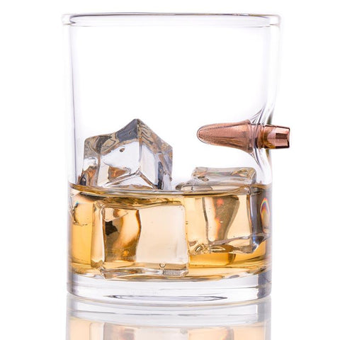 Lucky Shot Bullet Handblown Whiskey Glass