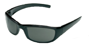 Body Specs CRAZY 8's Sunglasses (ANSI/MIL-STD), Black Frame/Smoke Lens