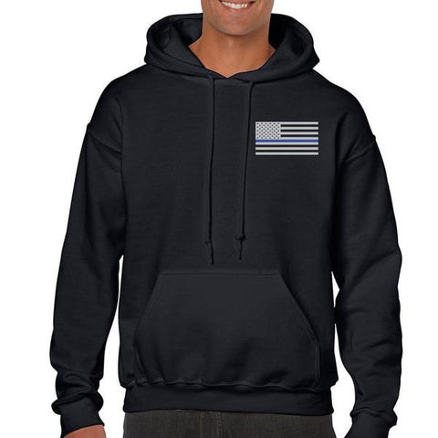 Men's Hoodie – Thin Blue Line American Flag