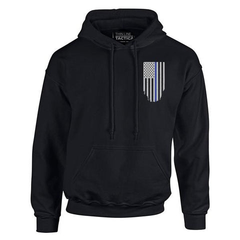 Men's Hoodie – Thin Blue Line American Flag, Honor & Respect