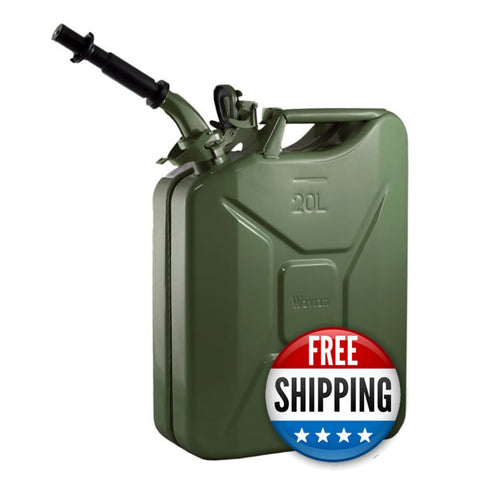 Wavian USA Green 5.3 Gallon Liter Jerry Can System with EPA/CARB Spout and Auto Filler Adapter DOT Approved