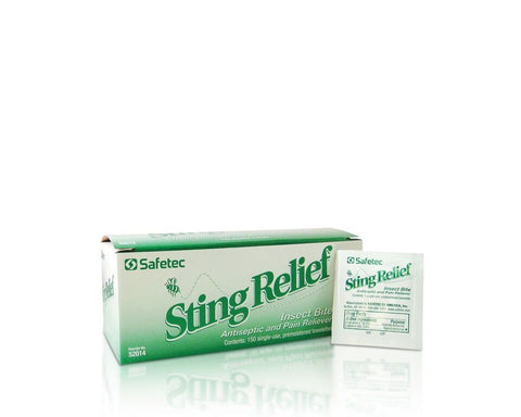 Safetec Sting Relief Wipes (150 Per Box, Case of 20)