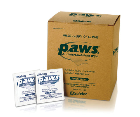 Safetec PAWS Antimicrobial Towelette (Case of 1000)