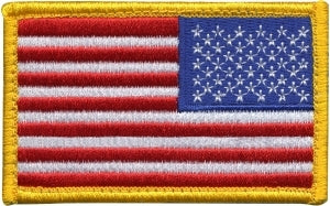 U.S. FLAG - Reverse - Full Color - w/Velcro - 3-3/8 x 2""