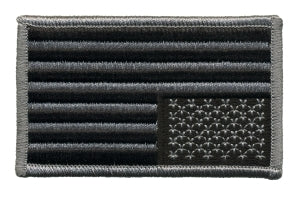 U.S.  FLAG - Silver & Black - With Velcro - 3-3/8 x 2""