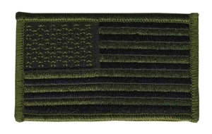 U.S. FLAG - Forward - O.D./Black, Hook - 3-1/4 X 1-13/16""