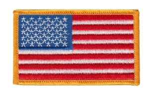 U.S. FLAG - Dark Gold Border - 3-3/8 x 2""