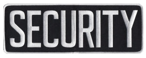 SECURITY - White on Black - Back Patch - 11 x 4""