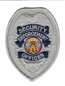 SECURITY ENFORCEMENT OFFICER - Silver/Navy Badge - 2-3/8 X 3-1/2""