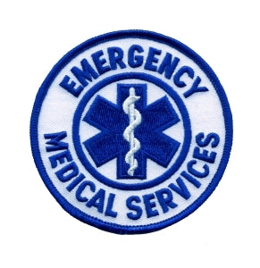 "EMERGENCY MEDICAL SERVICES - White Twill - 3-1/2"" Circle"
