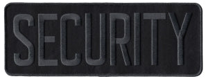 SECURITY - Grey on Black - Back Patch - 11 x 4""