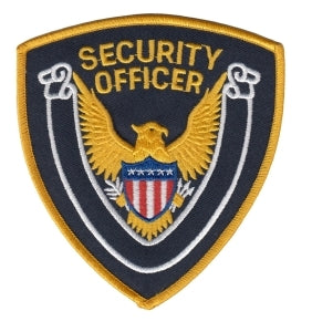 SECURITY OFFICER - Gold Border/Dk Navy Twill - 4 x 4""
