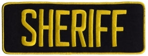 SHERIFF - Med Gold on Midnight Navy - Back Patch - 11 x 4""