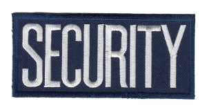 "SECURITY - White on Navy Blue - 4 x 2"" - Heat Seal'able"