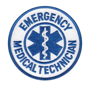 "EMERGENCY MEDICAL TECHNICIAN - White Twill - 3-1/2"" Circle"