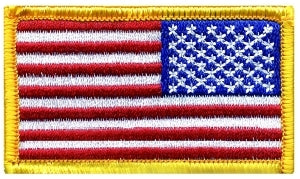 U.S. FLAG - Reverse - Med Gold Border - 2-1/2 x 1-1/2""