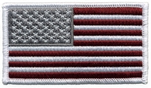U.S. FLAG - Forward - Mrn/Gry/Wht - White Border - 3-1/4 X 1-13/16""