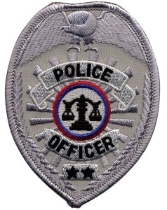 POLICE OFFICER - Silver Badge - 2-1/2 X 3-1/2""
